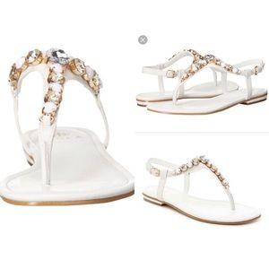 Isola White Jeweled Sandal